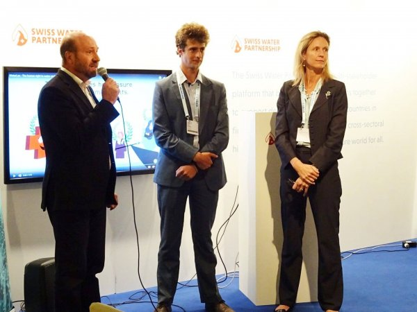 WaterLex Director General Amanda Loeffen with Nicolas Lorne and Brieux Michoud from Waterpreneurs